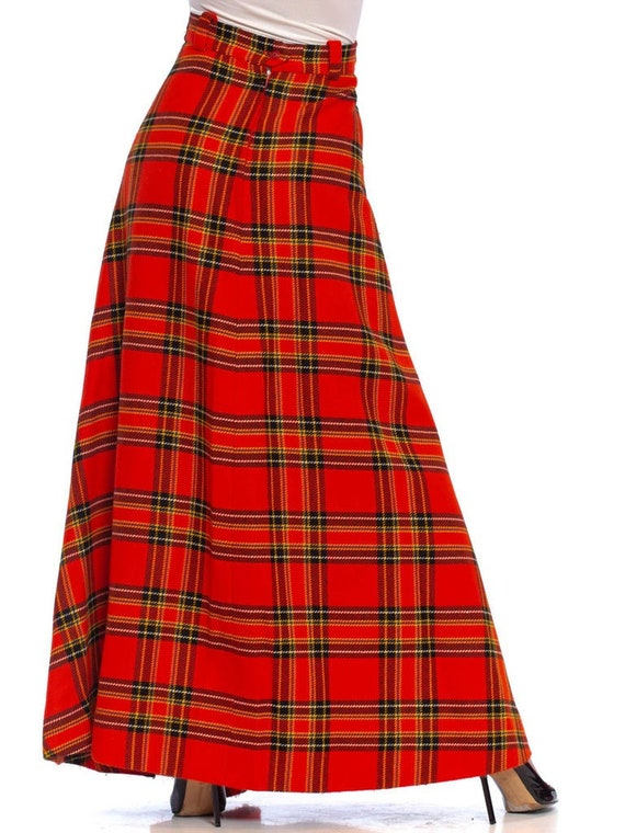 1970S Black  Red Wool Blend Tartan Bias Cut Maxi S