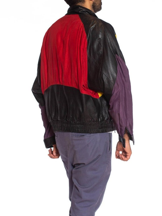 1990S Black Leather Men's Bomber Jacket With Yell… - image 8