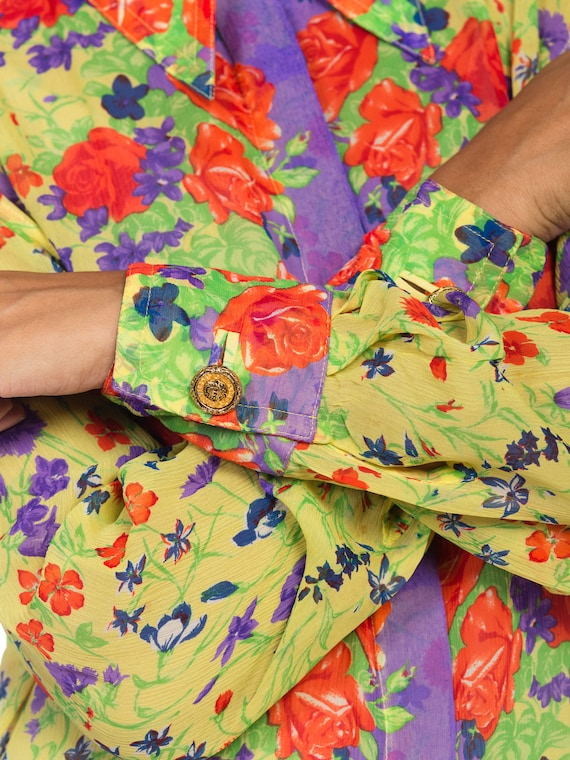 1990s-sheer Chiffon Gianni Versace Floral Boho Bl… - image 8