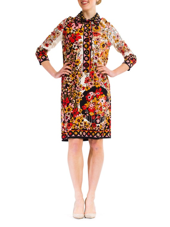 1960S PAGANNE Floral Printed Polyester Jersey Mod