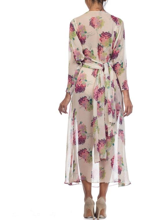 Sheer-silk 1920s Floral Chiffon Dress Size: S - image 8