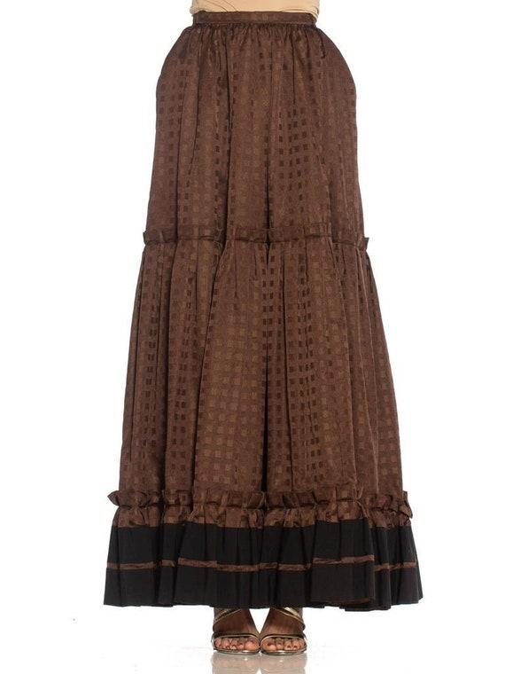 1970S Lanvin Brown Haute Couture Silk Full Pleate… - image 1