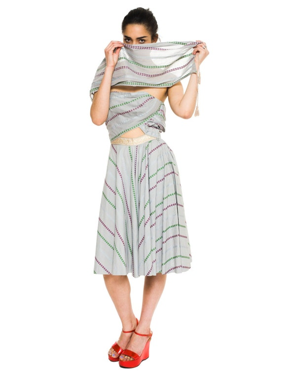 1950s Vintage Tina Lesser Strapless Indian Cotton