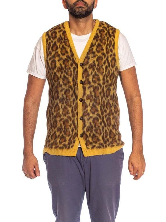 1950S Leopard Print Mohair Blend Knit Sweater Vest