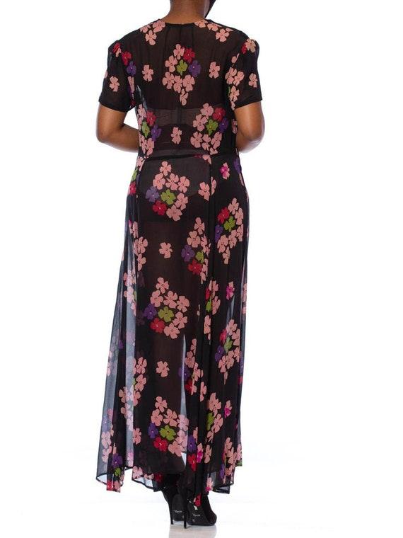 1930S Black Silk Chiffon Pink Floral Dress With L… - image 9