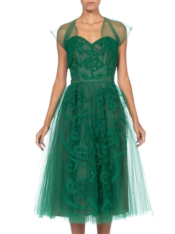 1950S Emerald Green Nylon Tulle Strapless Party Dr