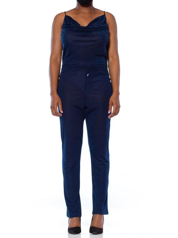 1970S Navy Blue Polyester Jersey Sexy Disco Jumpsu