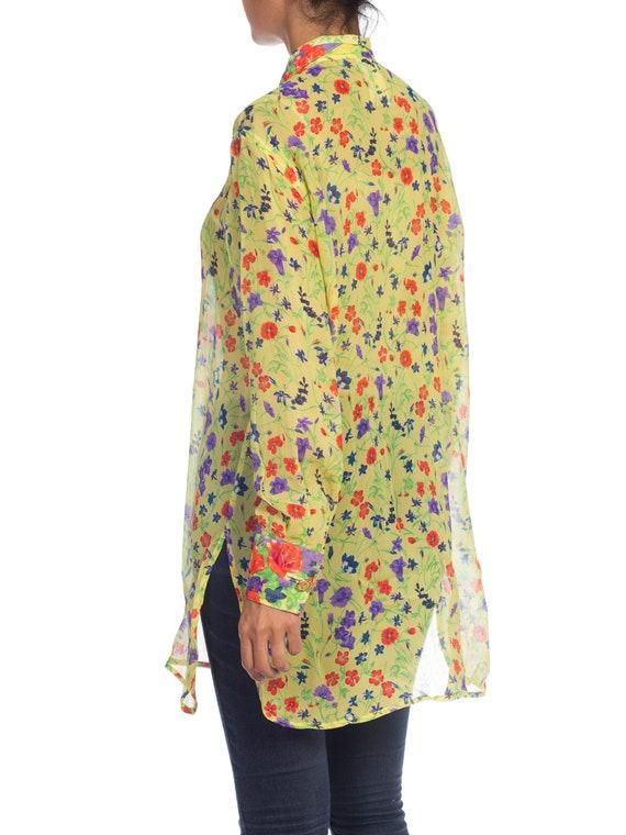 1990s-sheer Chiffon Gianni Versace Floral Boho Bl… - image 6