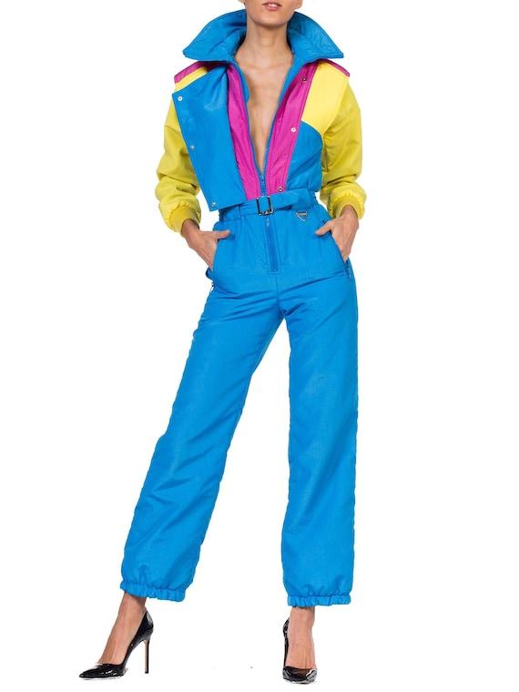 1980-1990s-neon Nylon Puffer Ski Jumpsuit Size: XS