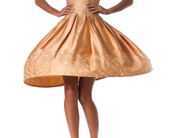 Vintage 1950s Strapless Satin Dress Embroidered with Gold Size: XS