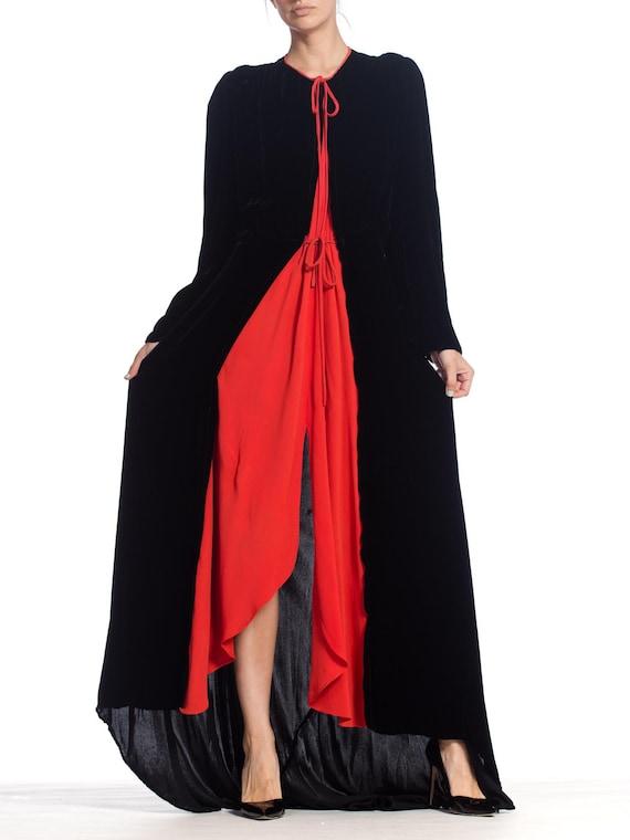 1930S Black Silk Velvet  & Red Crepe Dressing Gow… - image 7