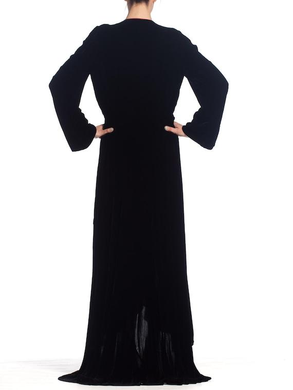 1930S Black Silk Velvet  & Red Crepe Dressing Gow… - image 8