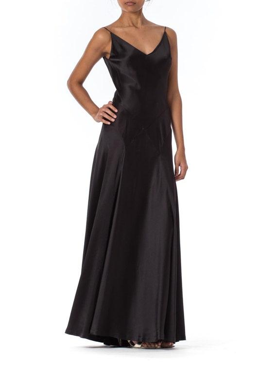 1990s Carmen Marc Valvo Silk Bias Cut Black Strap Gown | Etsy