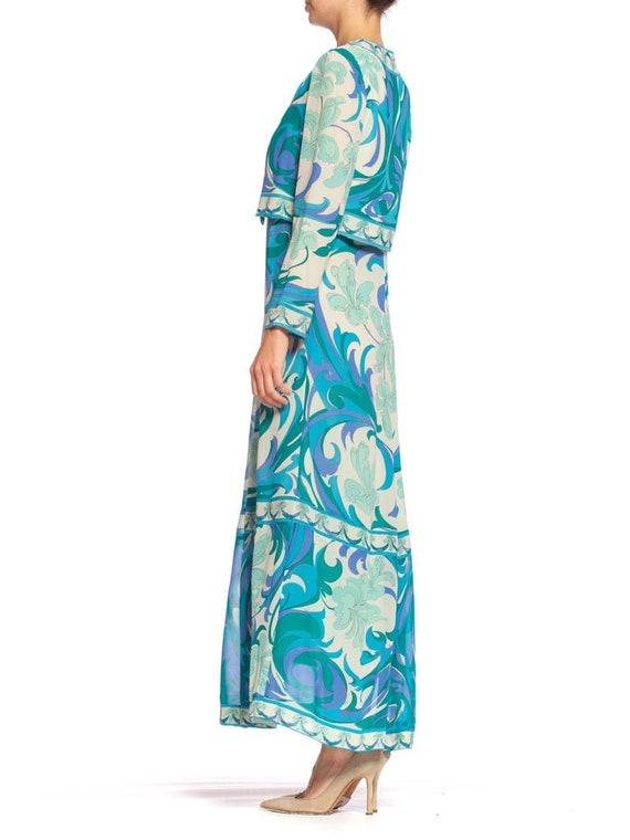 1960S EMILIO PUCCI Aqua  Blue Silk Chiffon Psyche… - image 3