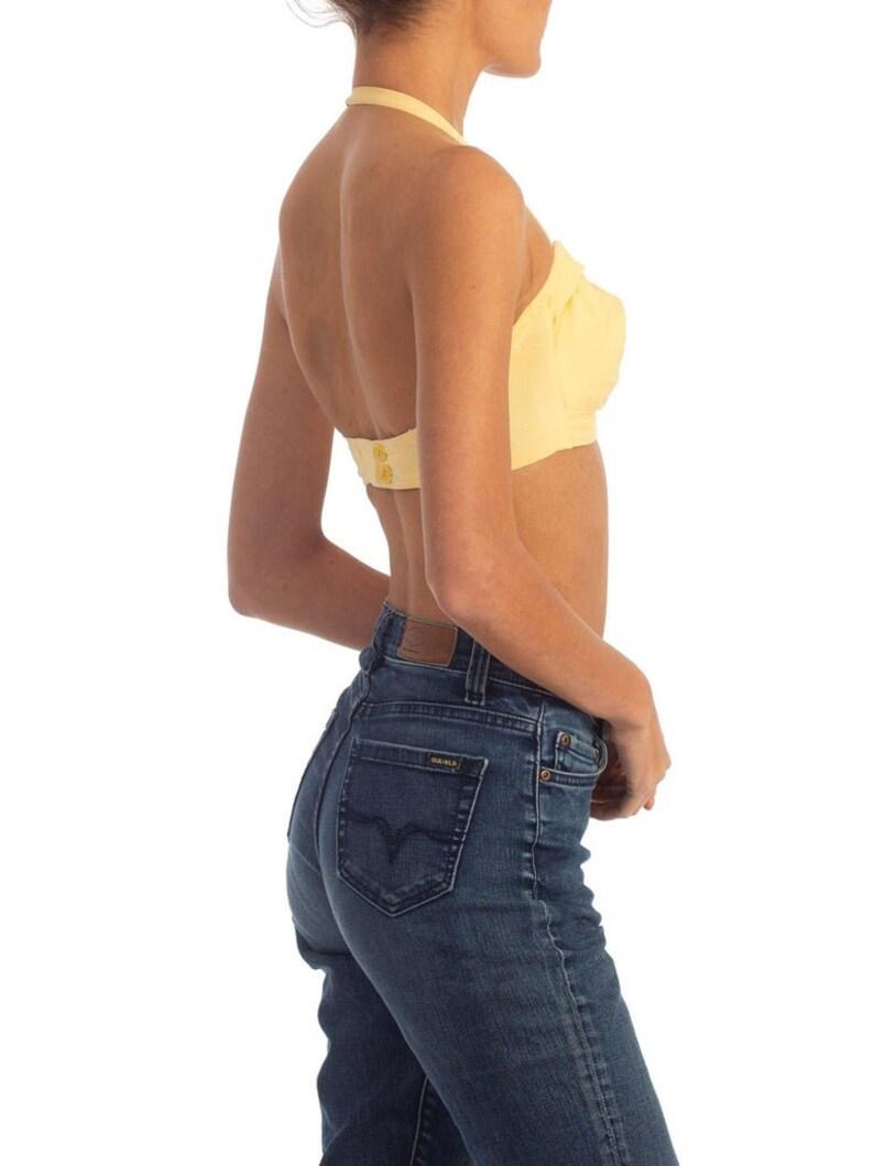 1940S Yellow Cotton Halter Bra Top