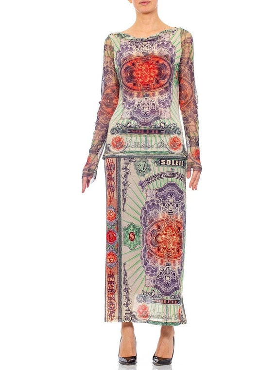 1990s JEAN PAUL GAULTIER Mesh Iconic Money Print … - image 1