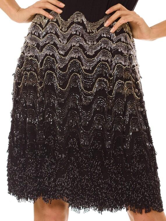 1920S Black Silk Chiffon Chevron Fringe Beaded  C… - image 2