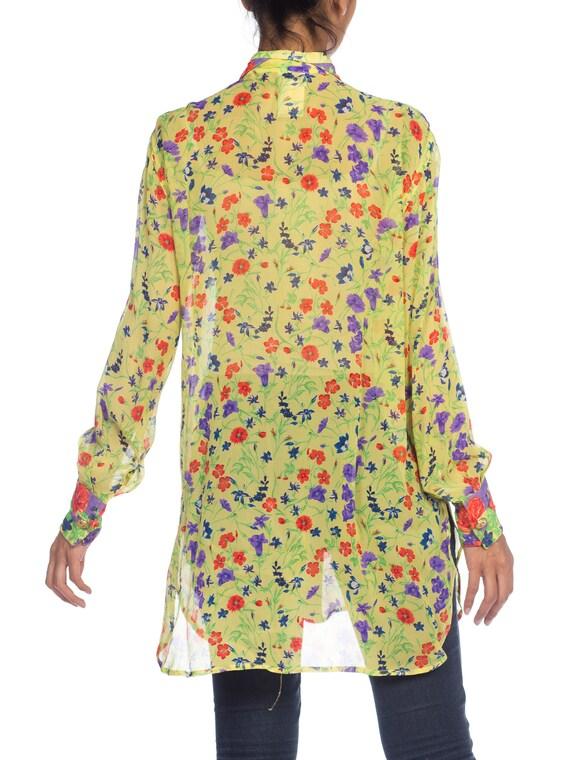 1990s-sheer Chiffon Gianni Versace Floral Boho Bl… - image 7