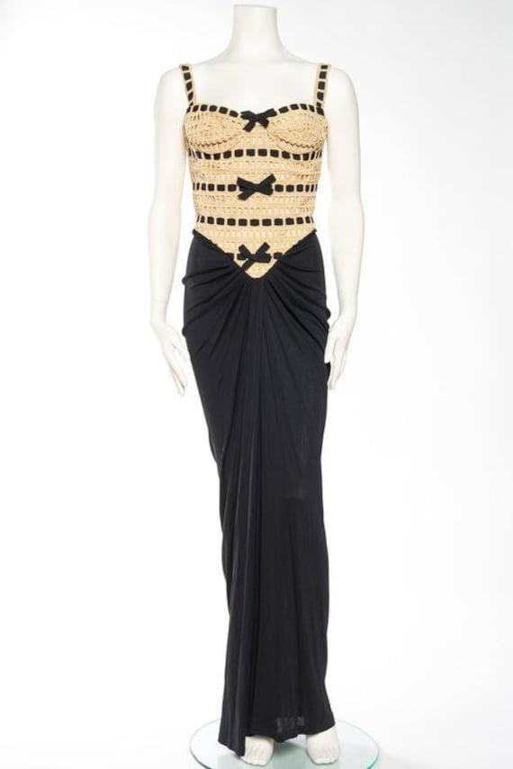 1980S ISABELLE ALLARD Black & Beige Rayon Jersey 4