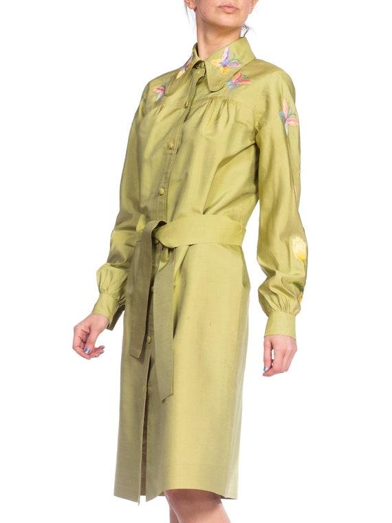 1970S Green Silk Hand Embroidered Shirt Dress - image 4