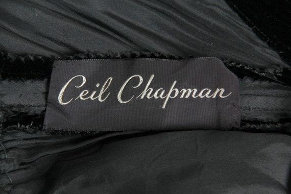1970S CEIL CHAPMAN Black Rayon & Silk Velvet Plun… - image 7