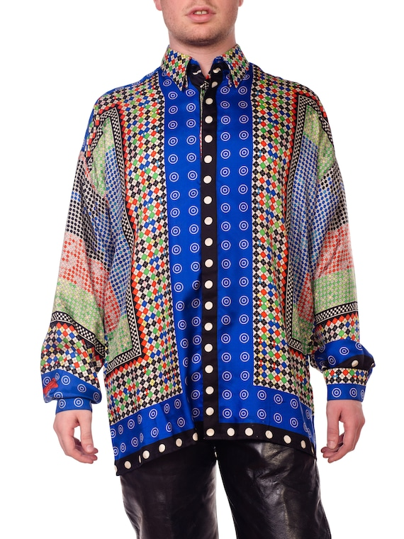 Gianni-versace Argyle Silk Shirt Size: XL