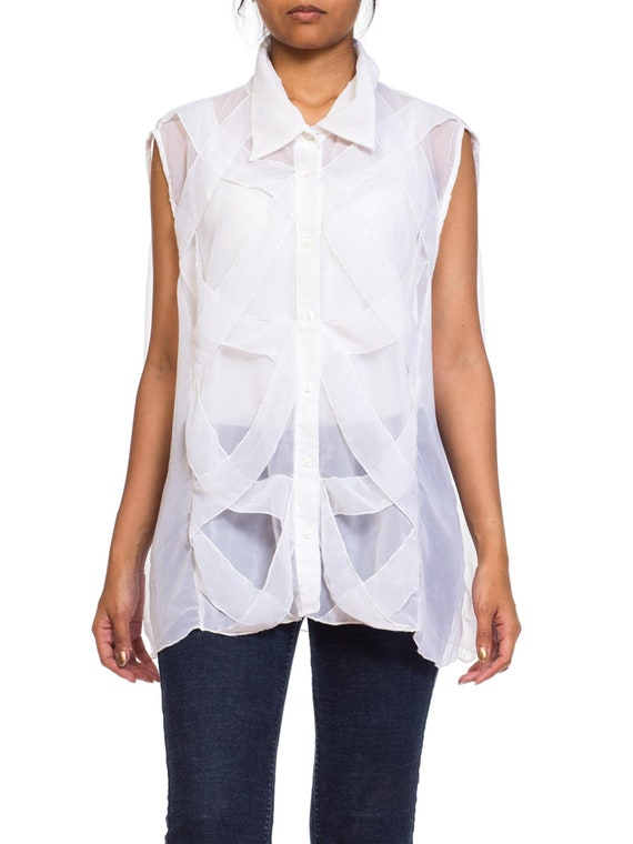 1980S White Sheer Polyester Chiffon Layered Minima