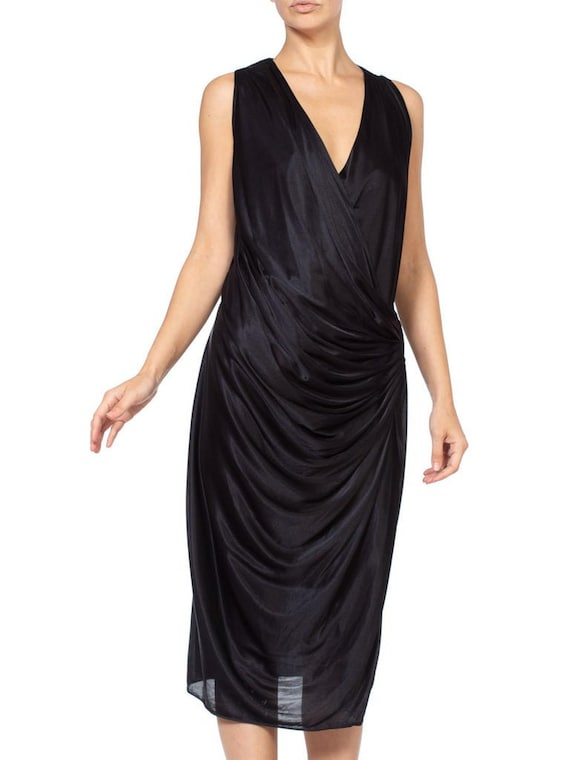 1980'S Slinky Black Jersey Dress
