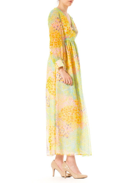 1970S Multicolor Psychedelic Polyester Chiffon Ma… - image 2