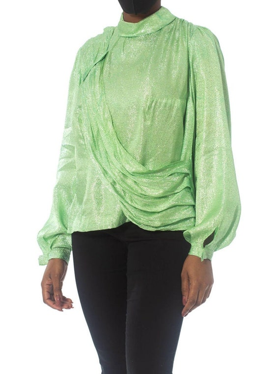 1970S Mint Green Silver Poly Lurex Long Sleeve Top - image 3