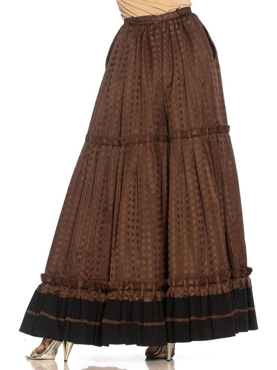 1970S Lanvin Brown Haute Couture Silk Full Pleate… - image 6