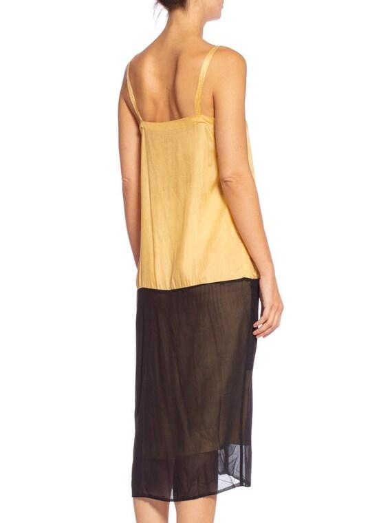1920's Yellow & Black Silk Chiffon Dress - image 5
