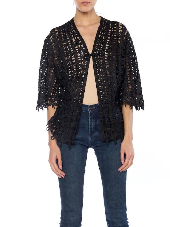 Victorian Black Silk Soutache Braid Lace Jacket