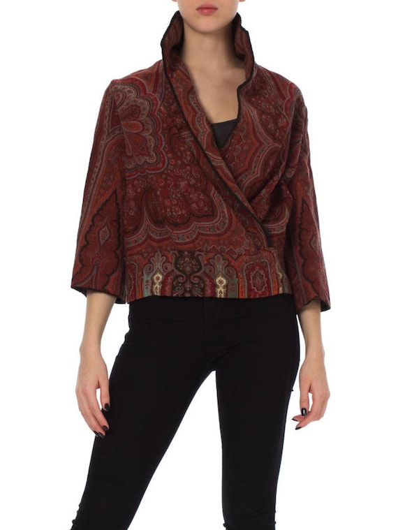 1920S Cranberry Red Wool Victorian Paisley Shawl