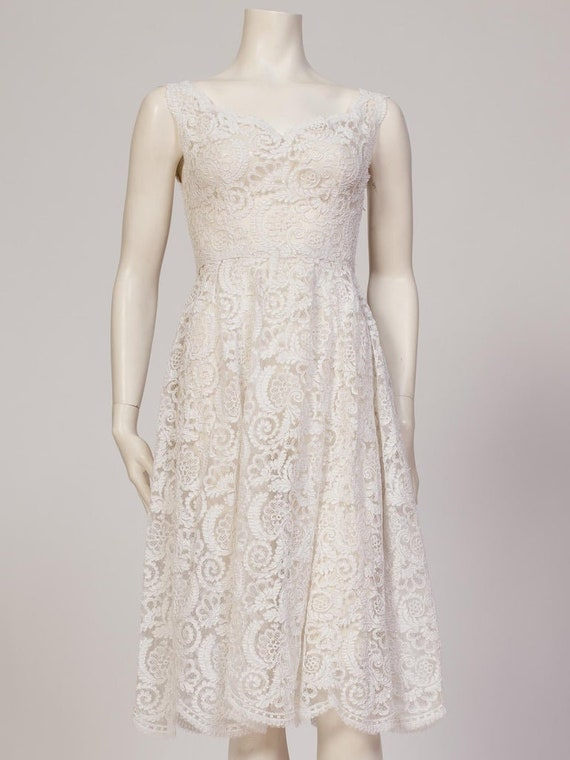 1950S Couture Hand Finished White Lace Dress