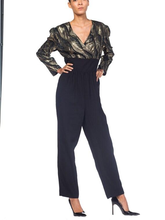 1980S  Black & Gold Fil Coupé Lurex Disco Jumpsuit