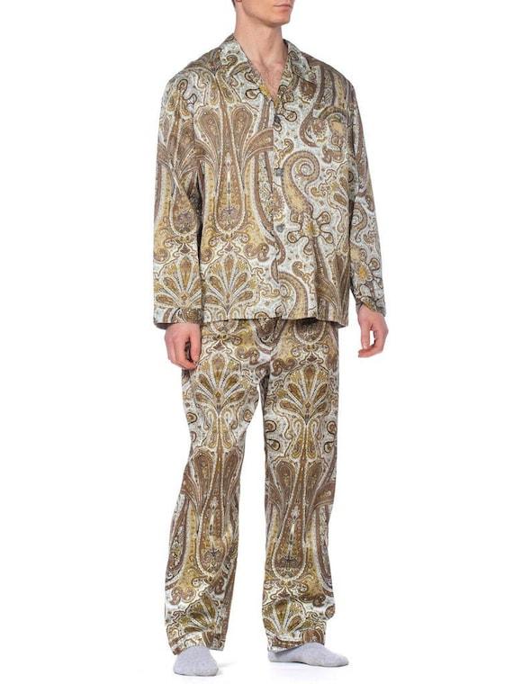 1970S Paisley Cotton Backed Rayon Satin Pajamas Se