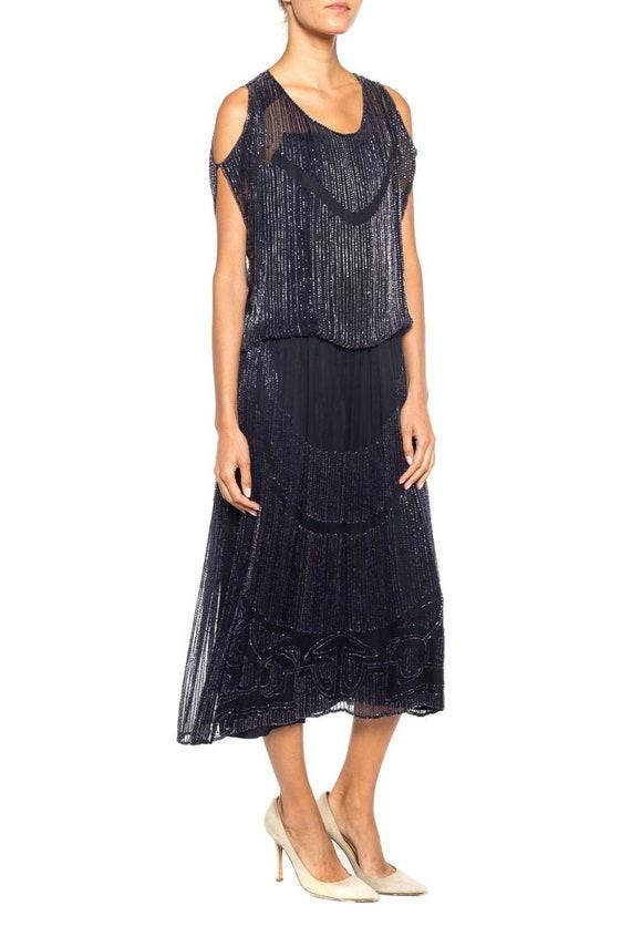1920S Silk Chiffon Beaded Navy Cocktail Dress - image 2