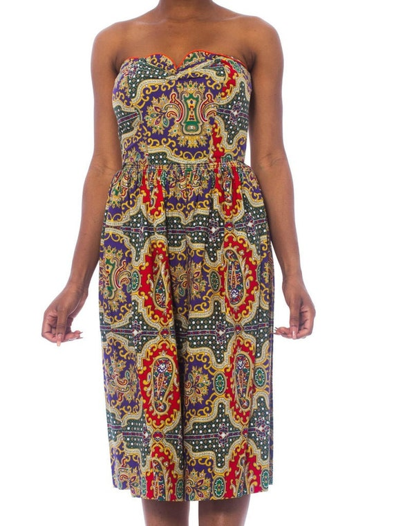 1950S Cotton Indian Paisley Strapless Dress