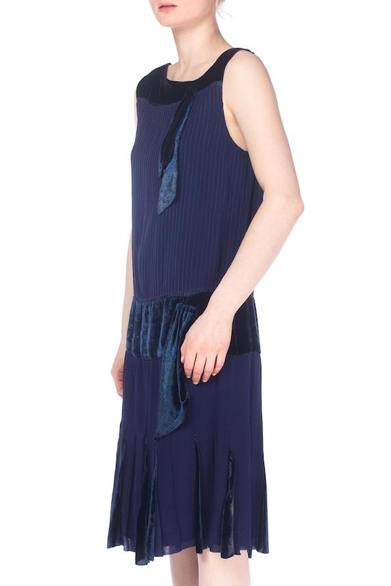 1920S Navy Blue Silk & Velvet Pintucked Drop Wais… - image 2