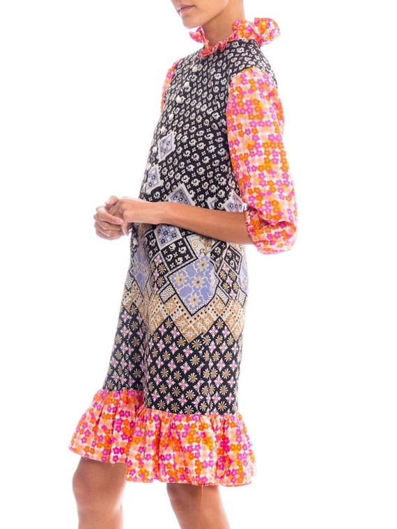 1960S Multicolor Patchwork Boho Printed Polyester… - image 3
