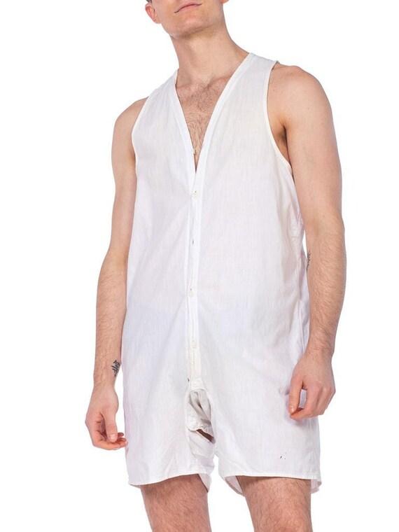 1920S White Organic Cotton Men's One Piece Union S