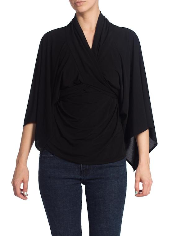 1980S Norma Kamali Style Black Jersey Draped Overs