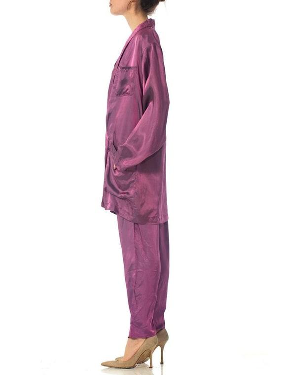 1980S Purple Acetate Taffeta Oversized Blazer Pan… - image 3