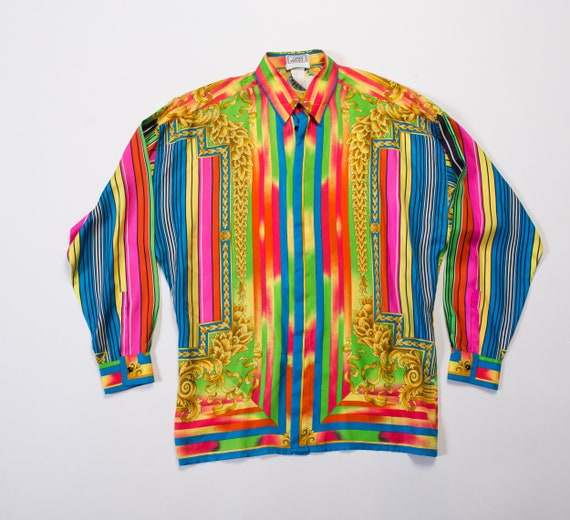 1990S  GIANNI VERSACE Rainbow Silk Men's Baroque P