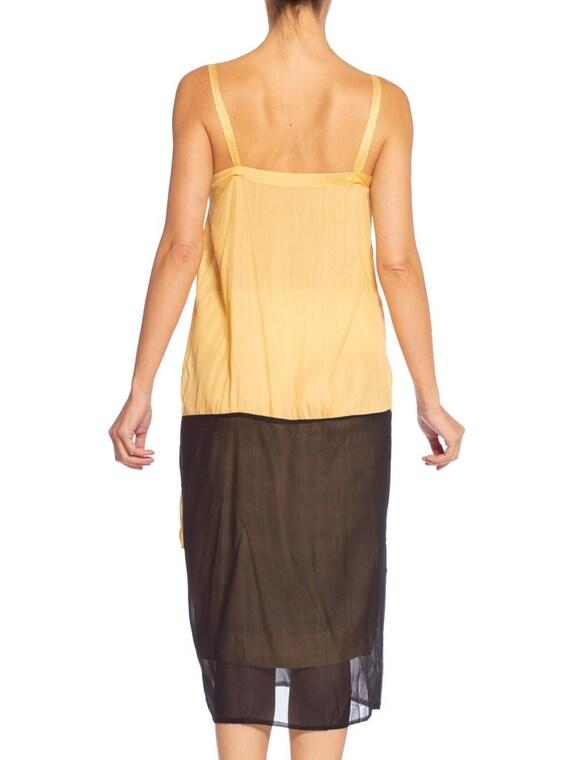 1920's Yellow & Black Silk Chiffon Dress - image 8