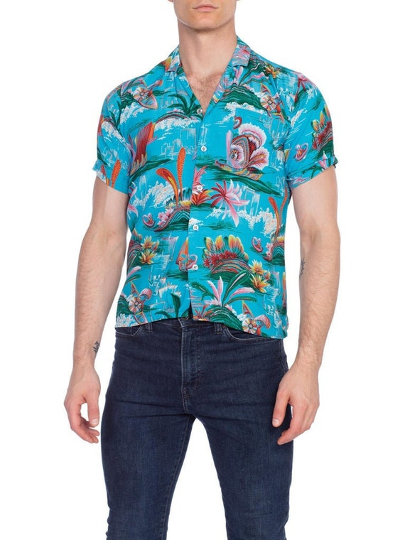 1970S Teal Rayon Men's 40S Style Tropical Hawaiian