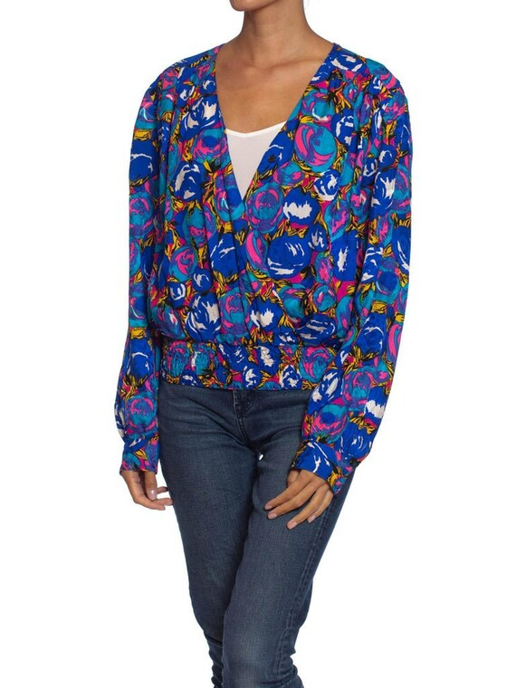 1980S Blue Floral Polyester Low Cut Boho Blouse