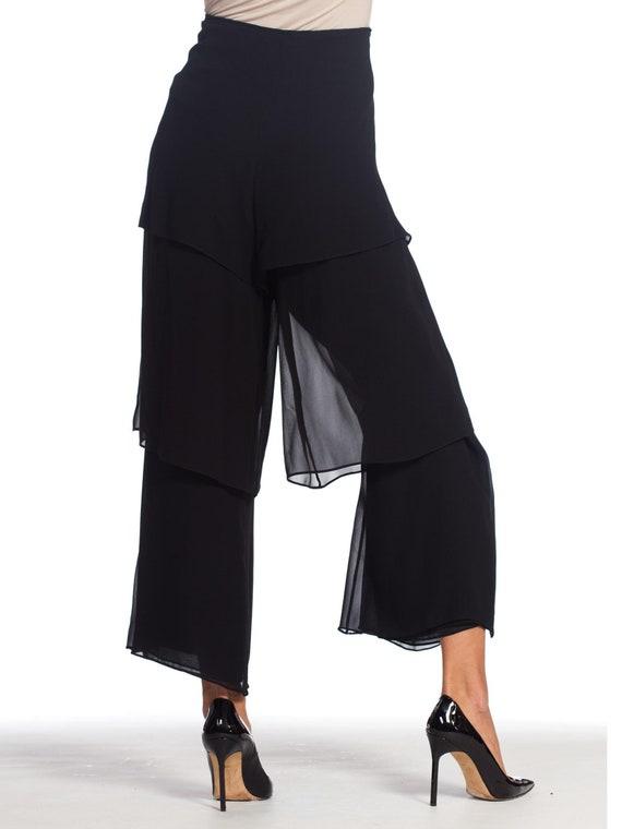 1990s-armani Silk Chiffon Pants Size: L - image 5