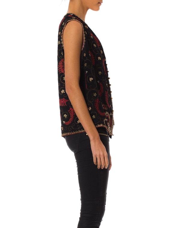 1920s Boho Ethnic M/L, Passementerie Embroidery Silk Folk Vest SIZE: M/L, Ethnic 8-10 4697ea